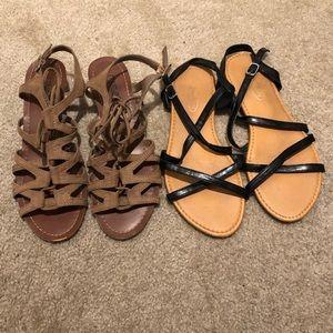Shoes - Strappy Sandal Bundle Lot Tan Black 6.5 7